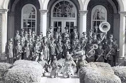 Avon Lake High School Band in front of Avon Lake High School, 1945-50?