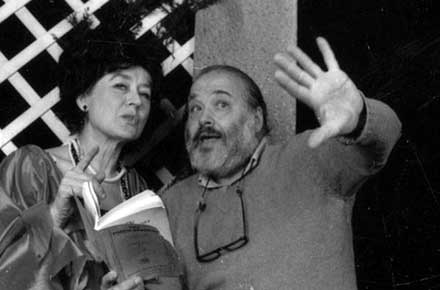 Director Reuben Silver and his wife, actress Dorothy Silver, in a rehearsal for The Torch-Bearers.