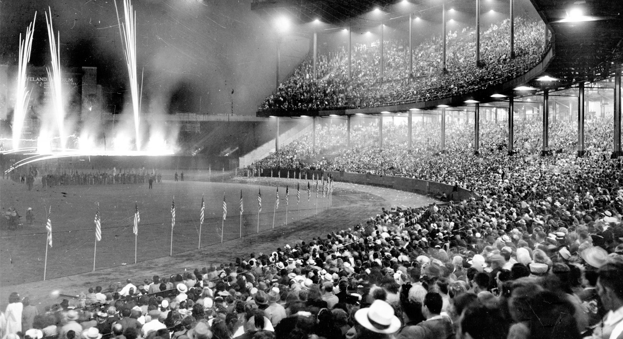 Crowd fills Cleveland Stadium during July 4th Festival of Freedom firework display, July 1946