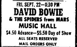 Ad for Bowie Concert from P.D., Aug. 11, 1972