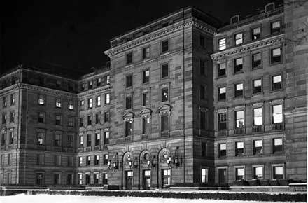 Facade of the Board of Education Building at night, 1962.