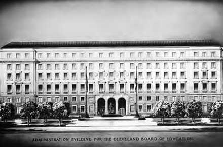 Artist rendition of the Board of Education Building, 1930.