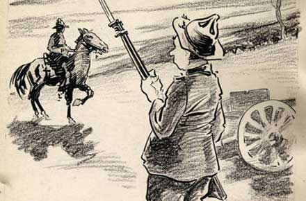 Roy Grove WWI cartoon of a soldier with a rifle and bayonet and a soldier on horseback.