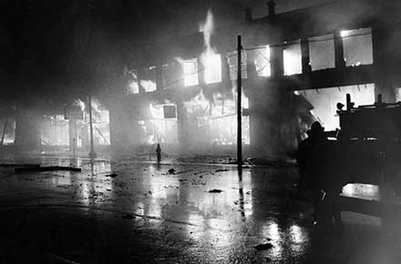 Fire in Glenville during riots of 1968