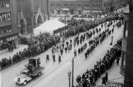 Elevated view of St. Patrick's Day Parade, 1935.