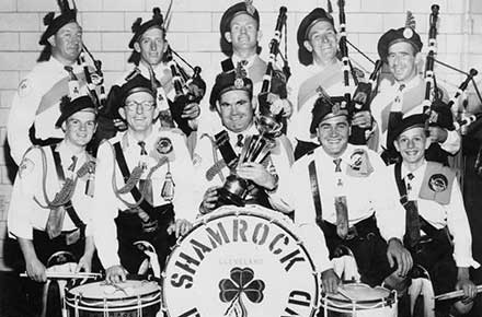 St. Patrick Church Shamrock Pipe band posed for photo, 1957.
