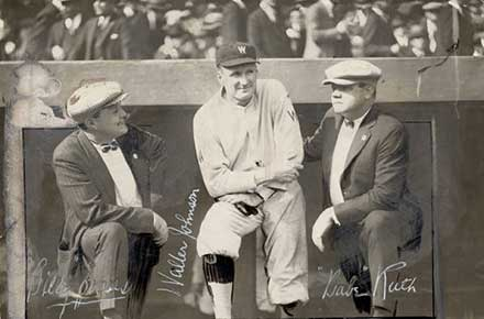 Billy Evans, Walter Johnson and Babe Ruth, 1925.