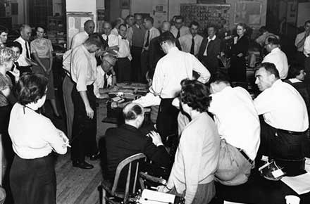Cleveland Press City Room waits for verdict in Sam Sheppard murder case, 1954.