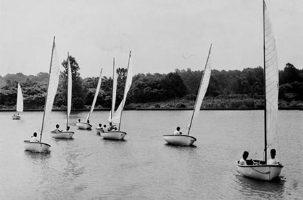 Sailboat race at Mentor Harbor Yacht Club, 1951.