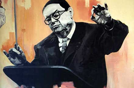 Painting of Darius Milhaud conducting