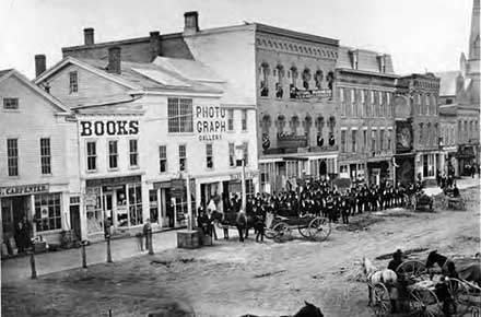 Downtown Oberlin, Ohio in 1874