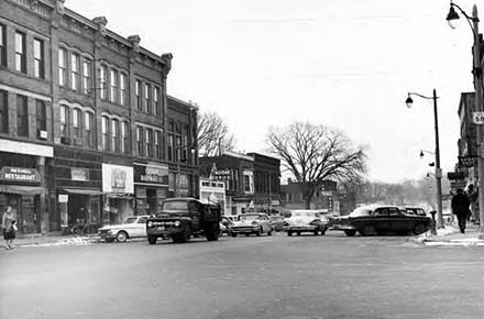 Historic downtown Oberlin, facing south on Main Street in 1964