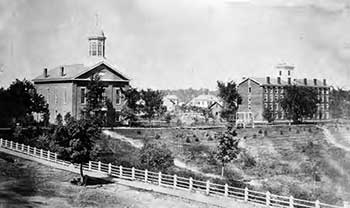 Tappan Hall and college chapel of Oberlin College circa 1860
