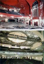 Before and after photo of the Ohio Theatre restoration in 1981-1982