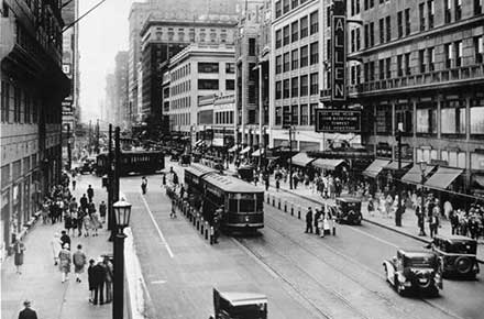 Playhouse Square during the day in 1928.