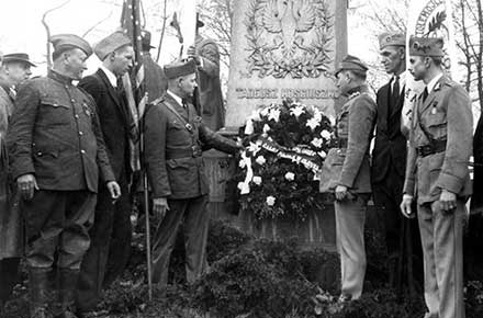 Polish veterans lay floral tributes on the statue of Taddeus Kosciuszko in Wade Park.