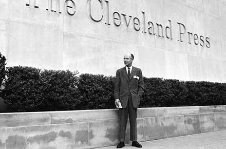 Cleveland Press Editor Louis B. Seltzer in front of Press building, 1960