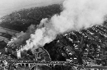 Aerial view of Westlake Hotel fire, 1962.