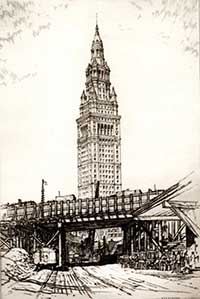 Terminal Tower from Wheeling Station, August 1928