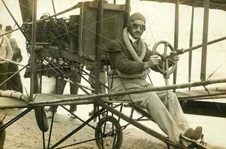 Glenn M. Curtiss in his plane, 1910.