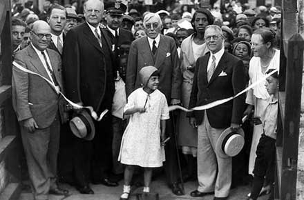 Ribbon Cutting at Hiram House, 1932.