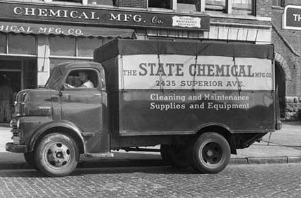 State Chemical truck outside 2435 Superior Ave. building