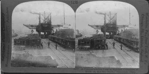 A Comprehensive View of Smaller Unloaders at Work on the Ore Docks, Conneaut, Ohio.
