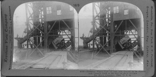 Dumping Whole Cars of Coal into a Hopper to be Poured into Vessel's Hold, Conneaut, Ohio.
