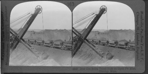 Iron Ore Being Taken from an Open Pit Mine, Hibbing, Minn.