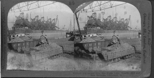 Unloading Iron Ore From Lake Vessels-Old and New Methods, Cleveland, O.