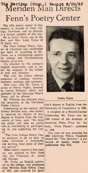 Newspaper clipping from Poetry Center Scrapbook